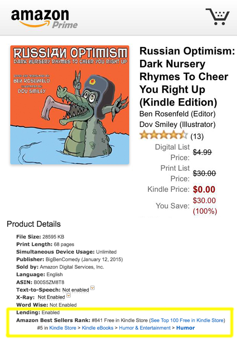 The Kindle edition of Russian Optimism has been as high as number five in the humor section.